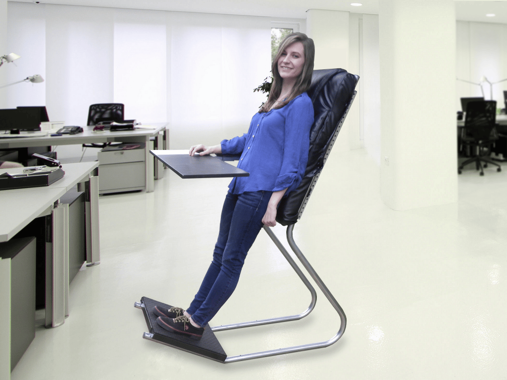 LeanChair takes around 25 percent of the weight off the user's legs compared to standing