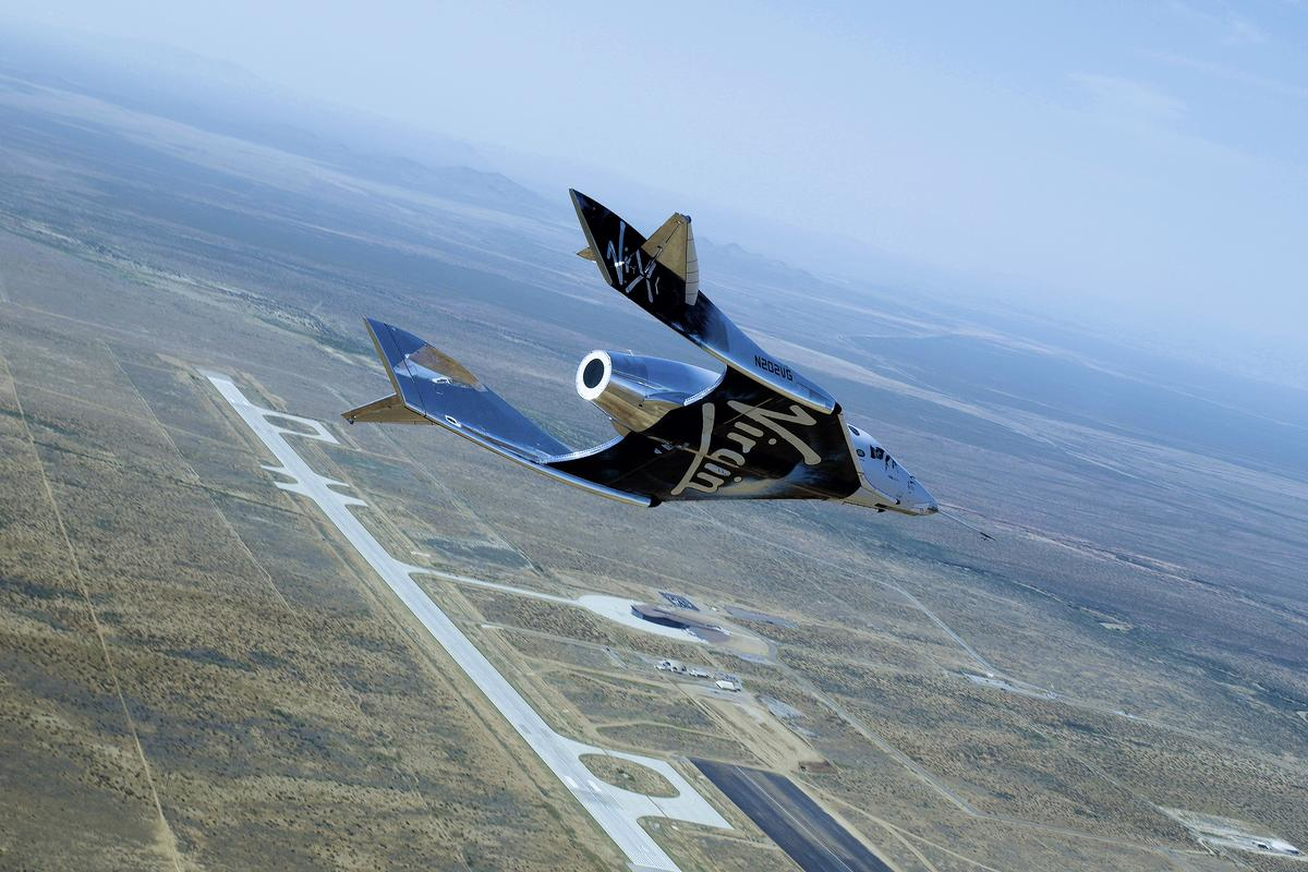 Virgin Galactic's spaceplane glides over New Mexico