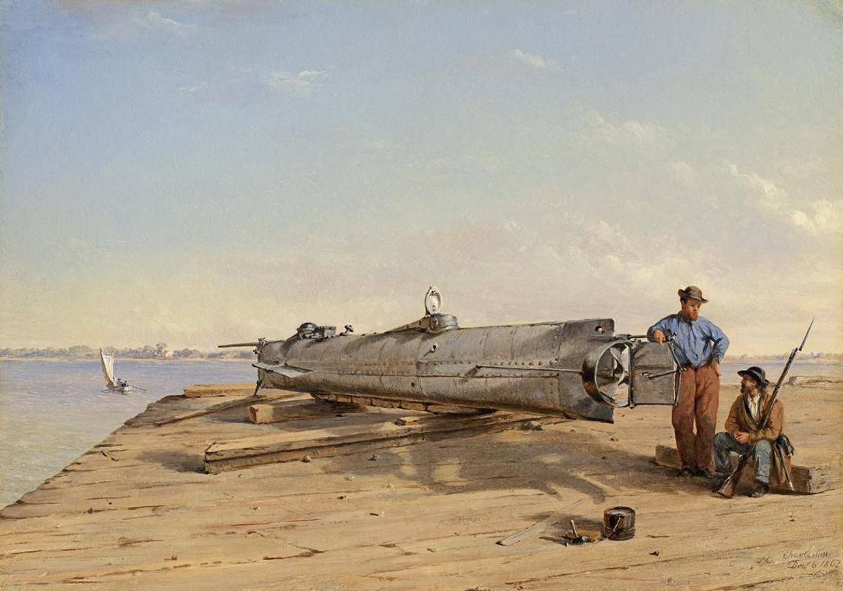 "An oil painting by Conrad Wise Chapman, ""Submarine Torpedo Boat H.L. Hunley, Dec. 6, 1863"""