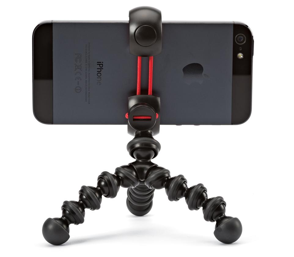 The head is permanently attached to the mini tripod with the Joby MPod Mini Stand