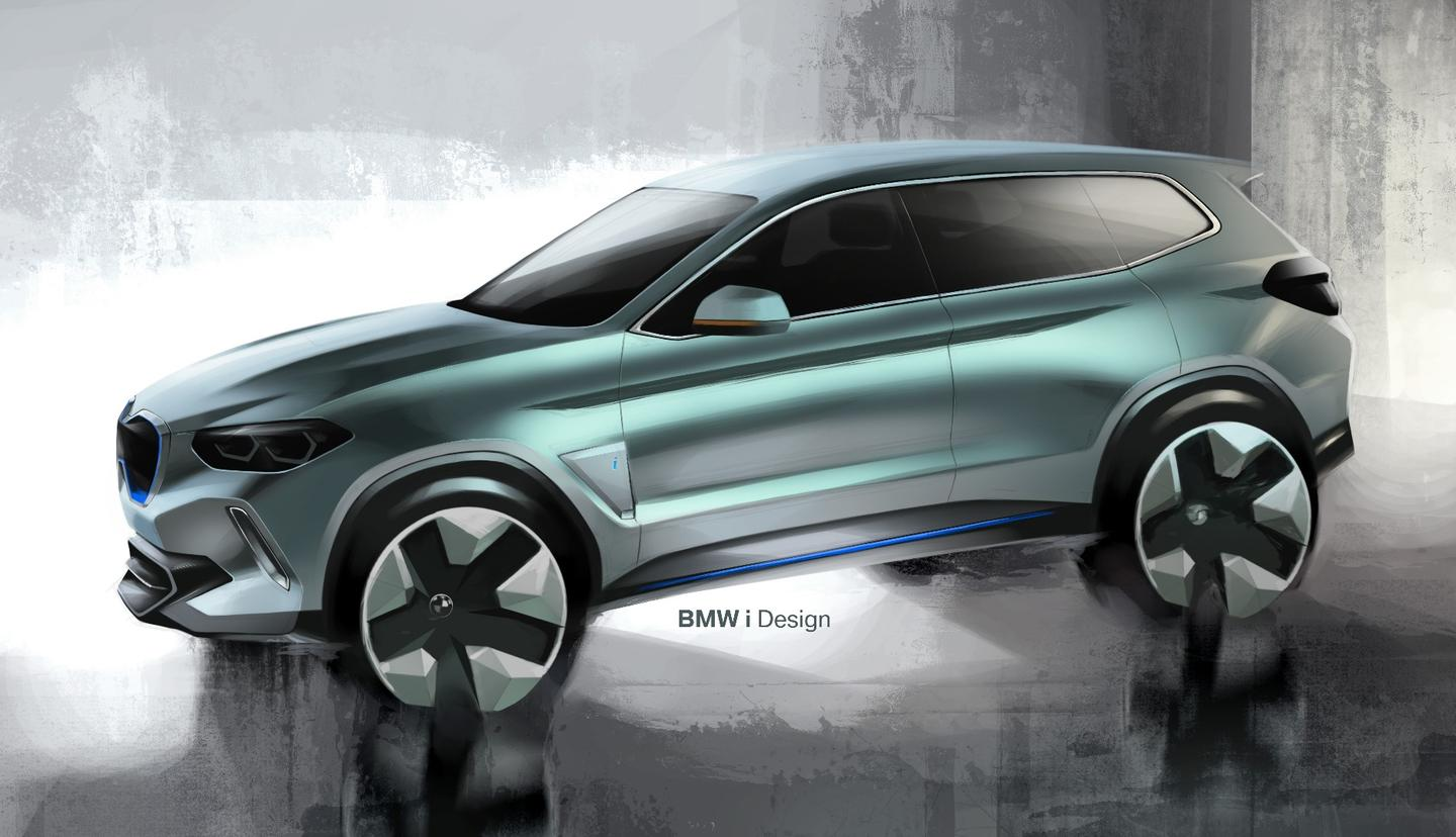 A heavy lean-forward look for the iX3's drawings was not carried to the concept model shown in Beijing