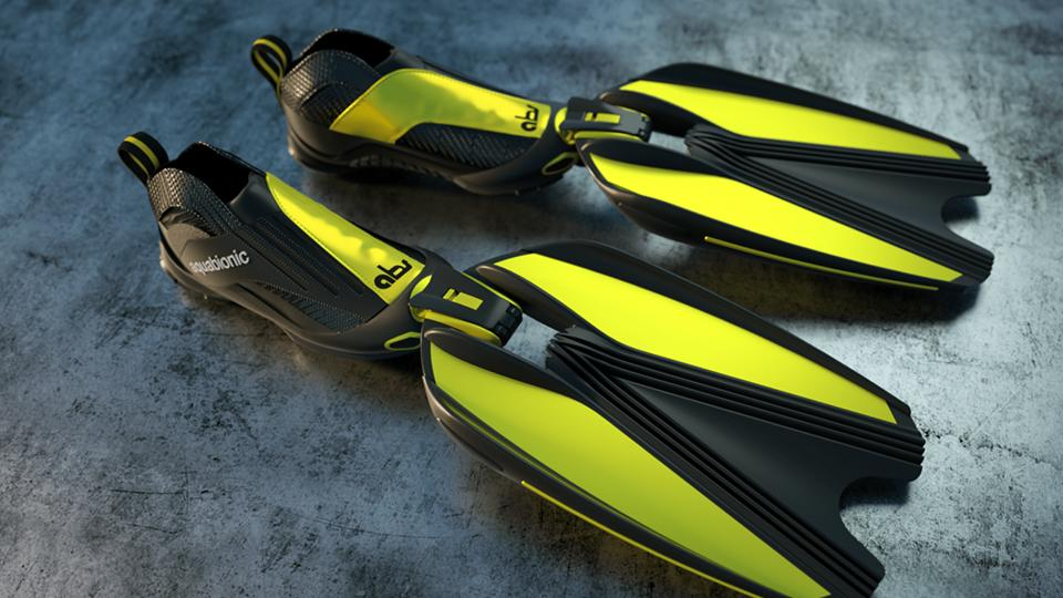 The aquabionic abs system consists of interchangeable blades that quickly bind to a set of aquatic shoes