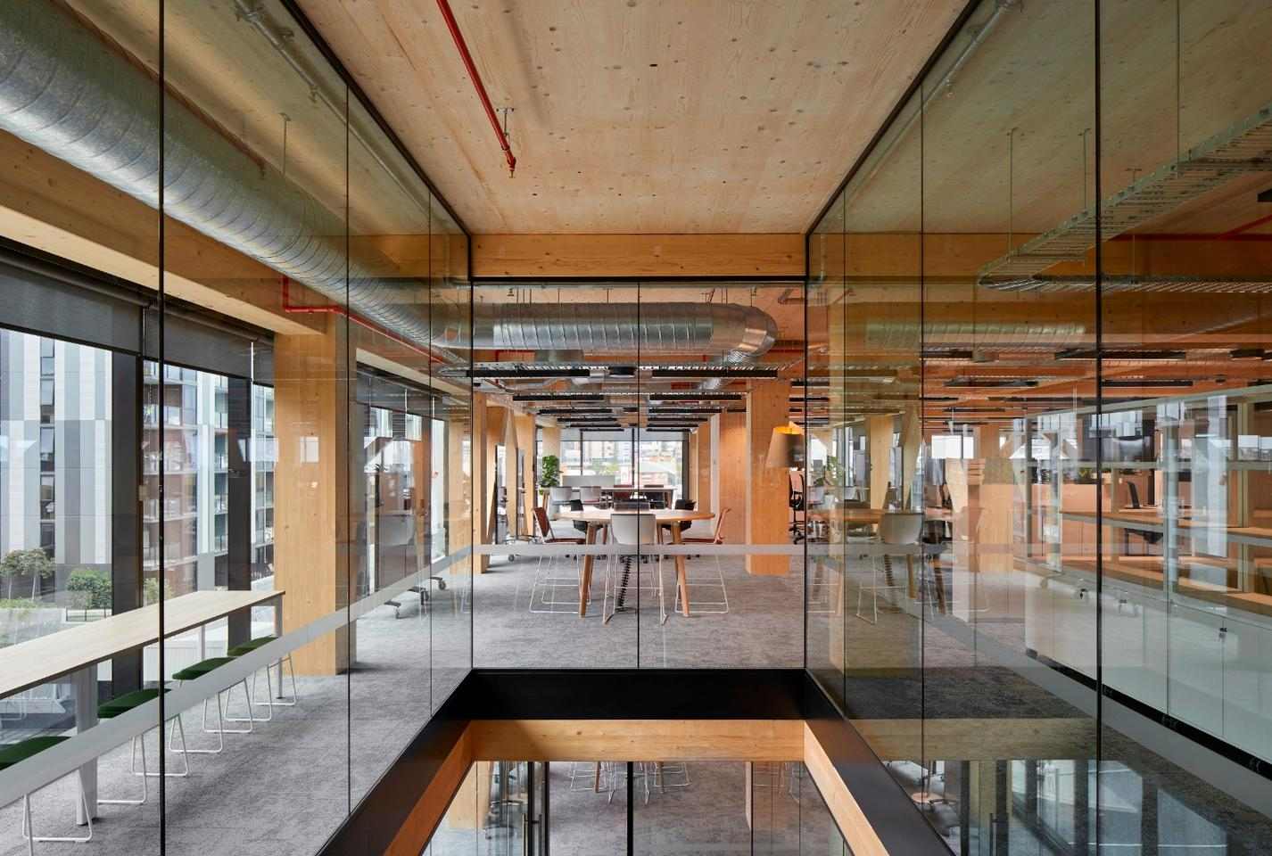 Inside the recently completed 25 King, a timber tower in Brisbane, Australia