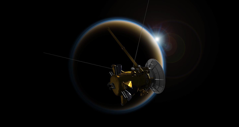 Artist's impression of Cassini passing near Titan