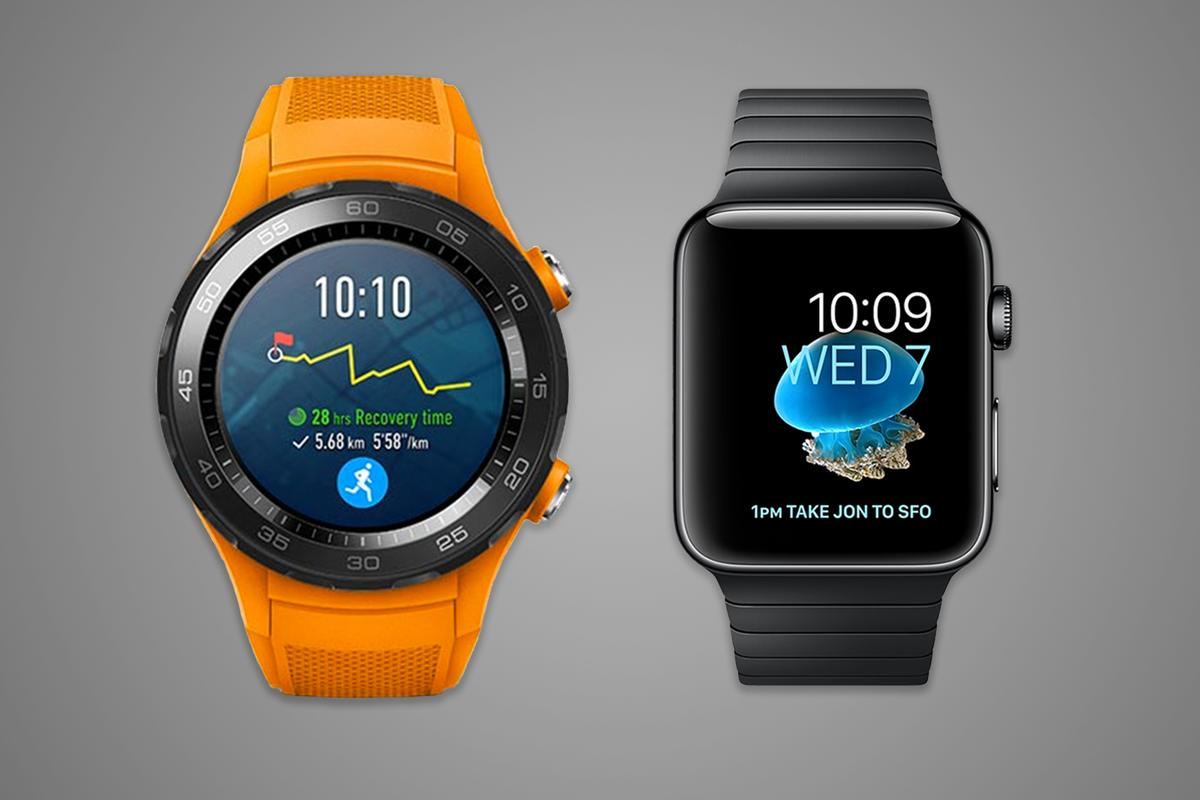 The second-generation Huawei Watch and the Apple Watch Series 2 have similar specs, but different approaches