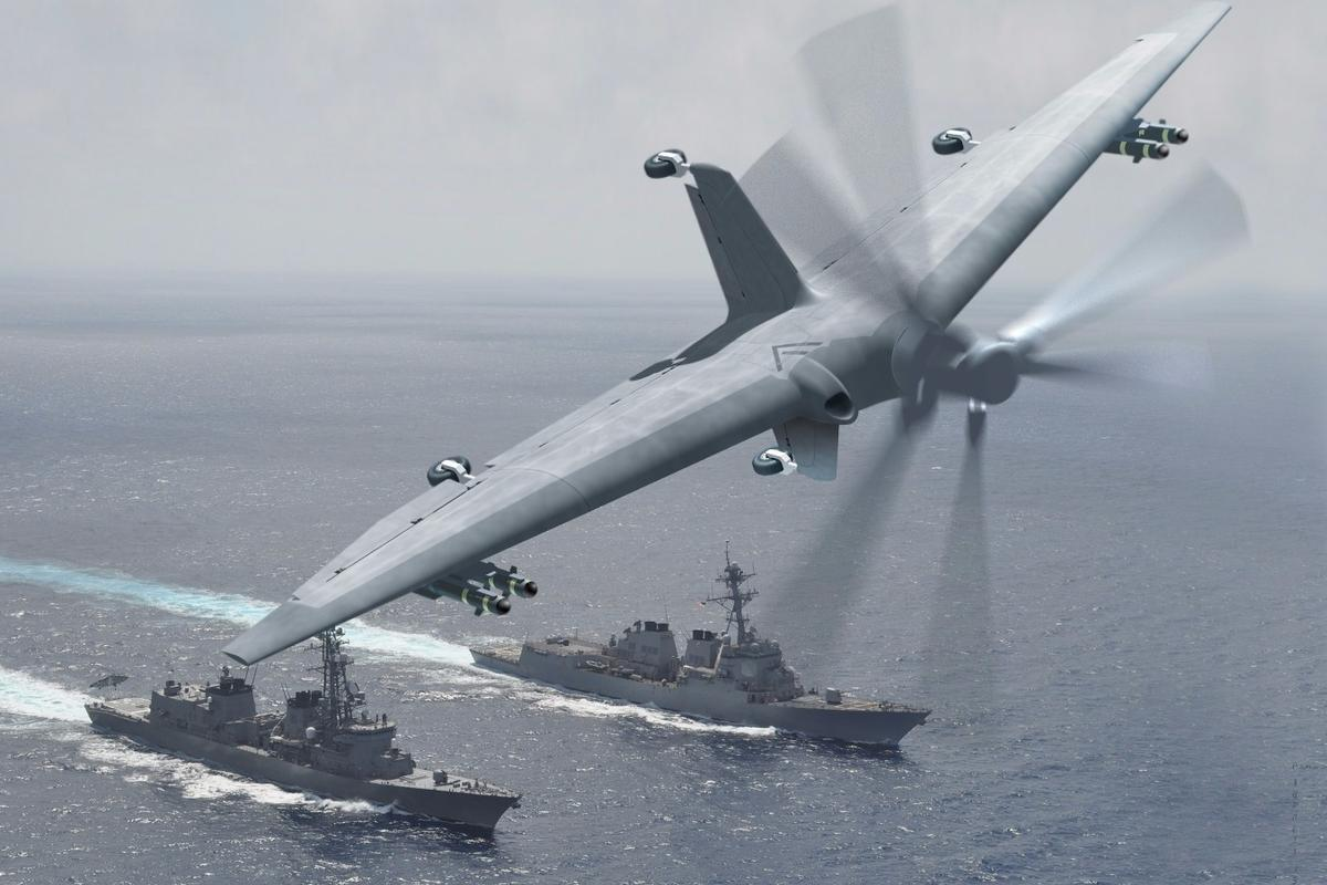 Artist's concept of a full-scale demonstrator system of a medium-altitude, long-endurance unmanned air system (UAS) designed to use forward-deployed small ships as mobile launch and recovery sites