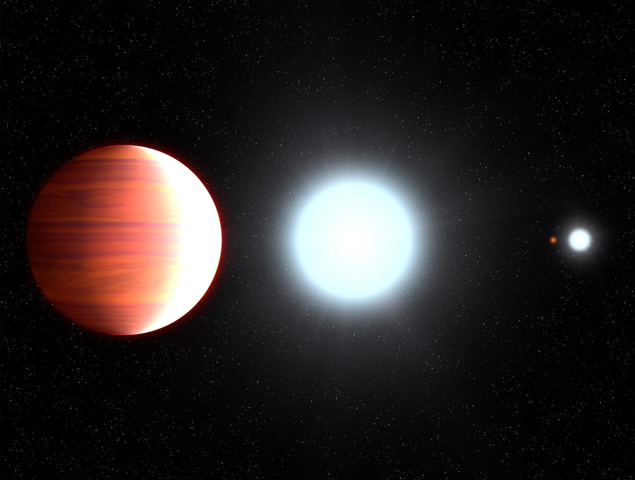 Artist's impression of Kepler-13Ab orbiting its parent star, Kepler-13A – the planet orbits in a multiple star system