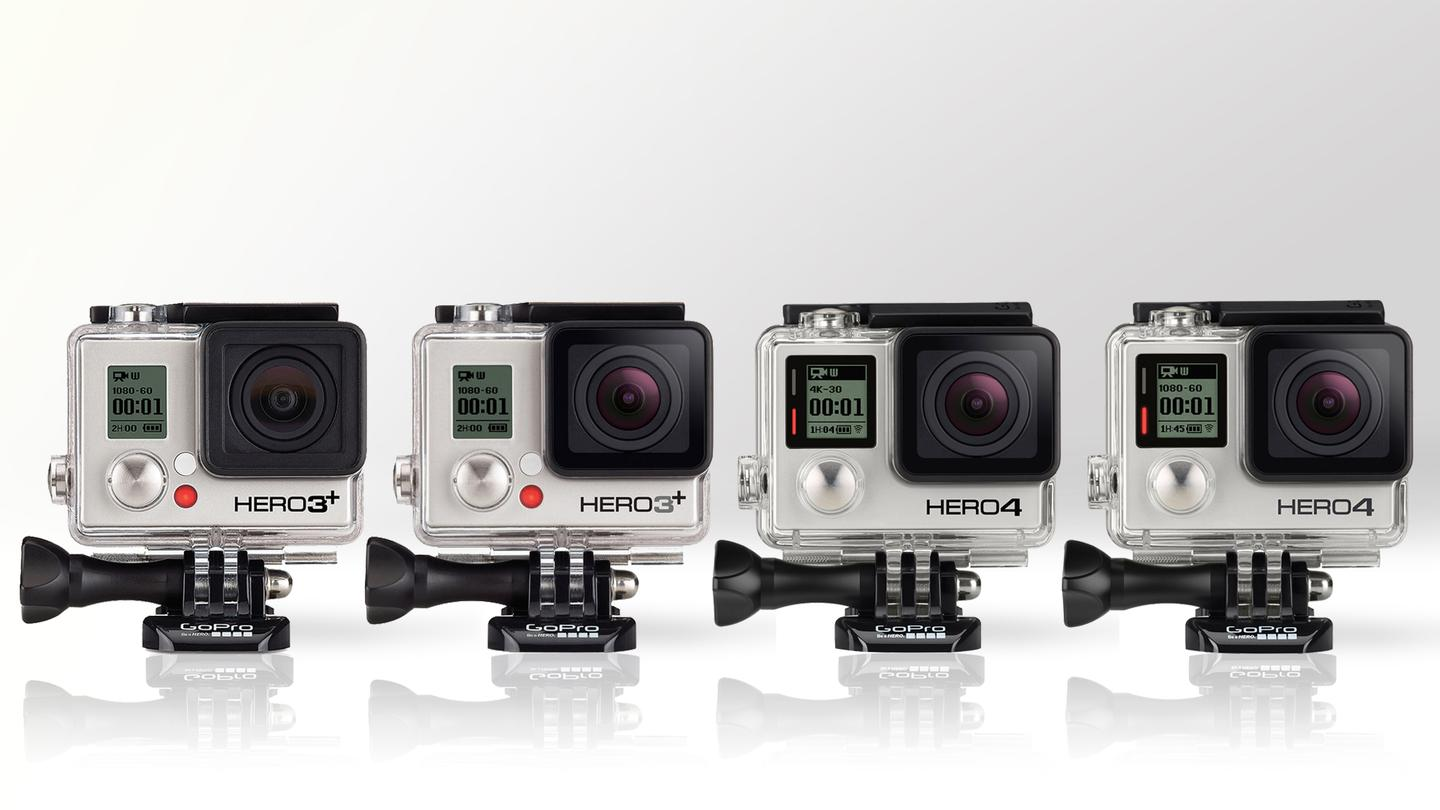 Gizmag compares the specifications and features of the GoPro Hero3+ and Hero4 actioncams