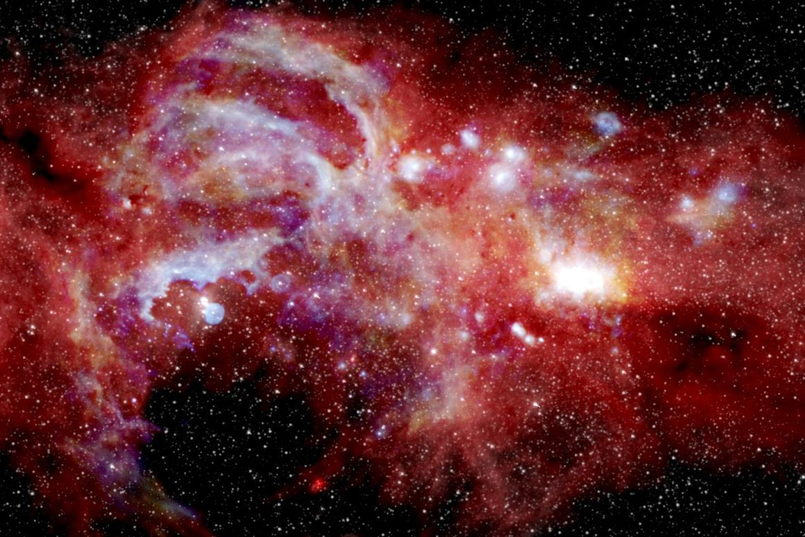 A close-up of the center of the Milky Way, showing new detail in the Arches cluster (top center-left), as well as the galaxy's supermassive black hole (bright spot, middle-right)