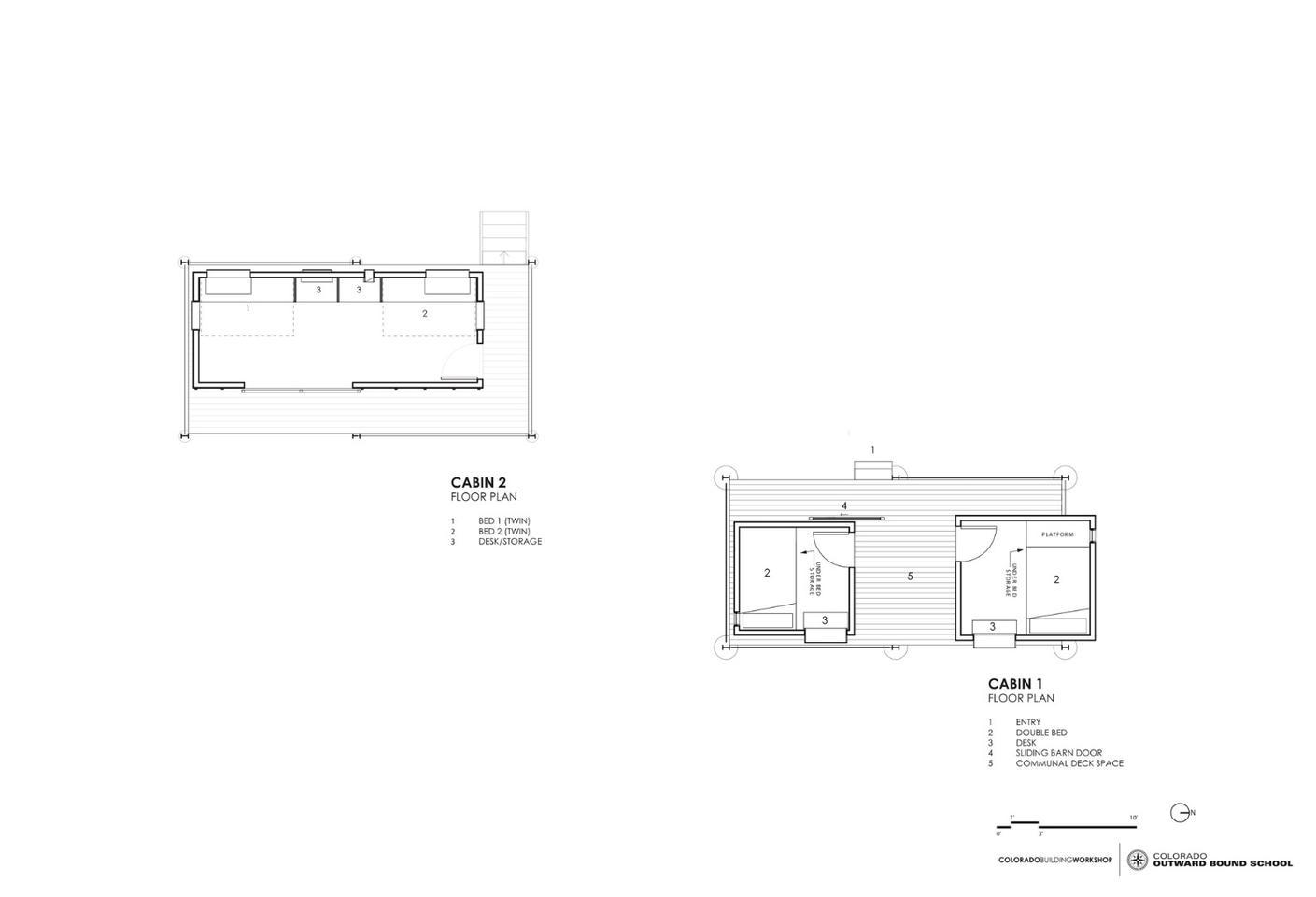 Architectural drawing of the micro-cabins