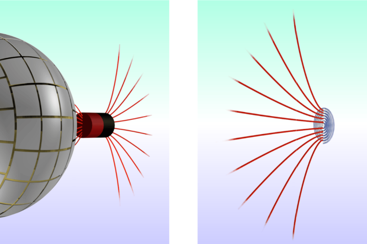 Magnetic field lines (in red) leaving a magnet on the right pass through the wormhole, which in terms of magnetism is undetectable