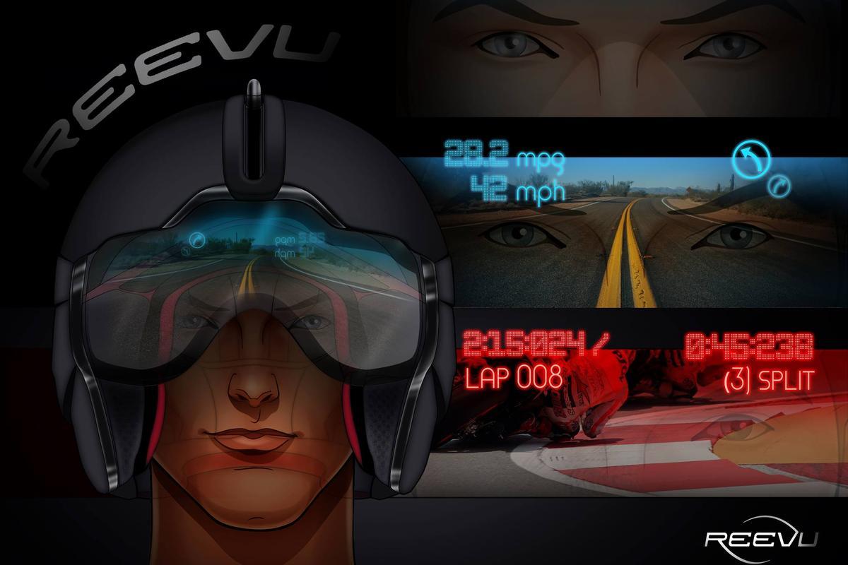 Reevu's proposed motorcycle helmet Heads-Up Display (HUD)