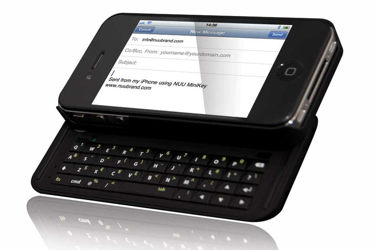 The Nuu MiniKey case adds a physical sliding QWERTY Bluetooth keypad to an iPhone 4
