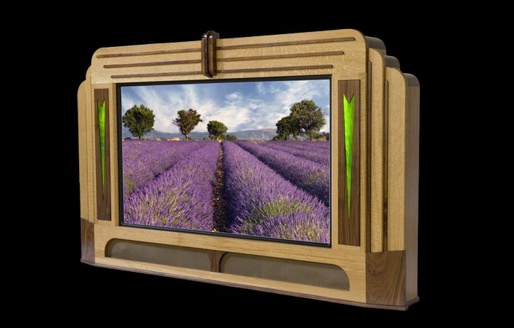 The Paris showcase in white oak and black walnut ... gives your flat screen TV a personality and style of its own