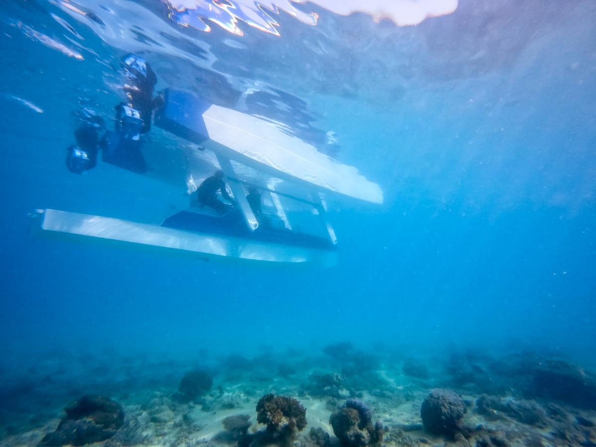 The Platypus Blue Ocean in semi-submersible mode, where pilot and passengers are lowered under the waves on the craft's central pod