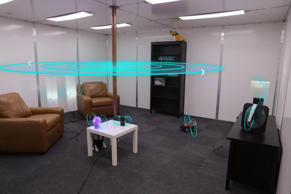 Researchers custom built a room with metallic surfaces to enable free-range wireless transfer using Quasistatic Cavity Resonance