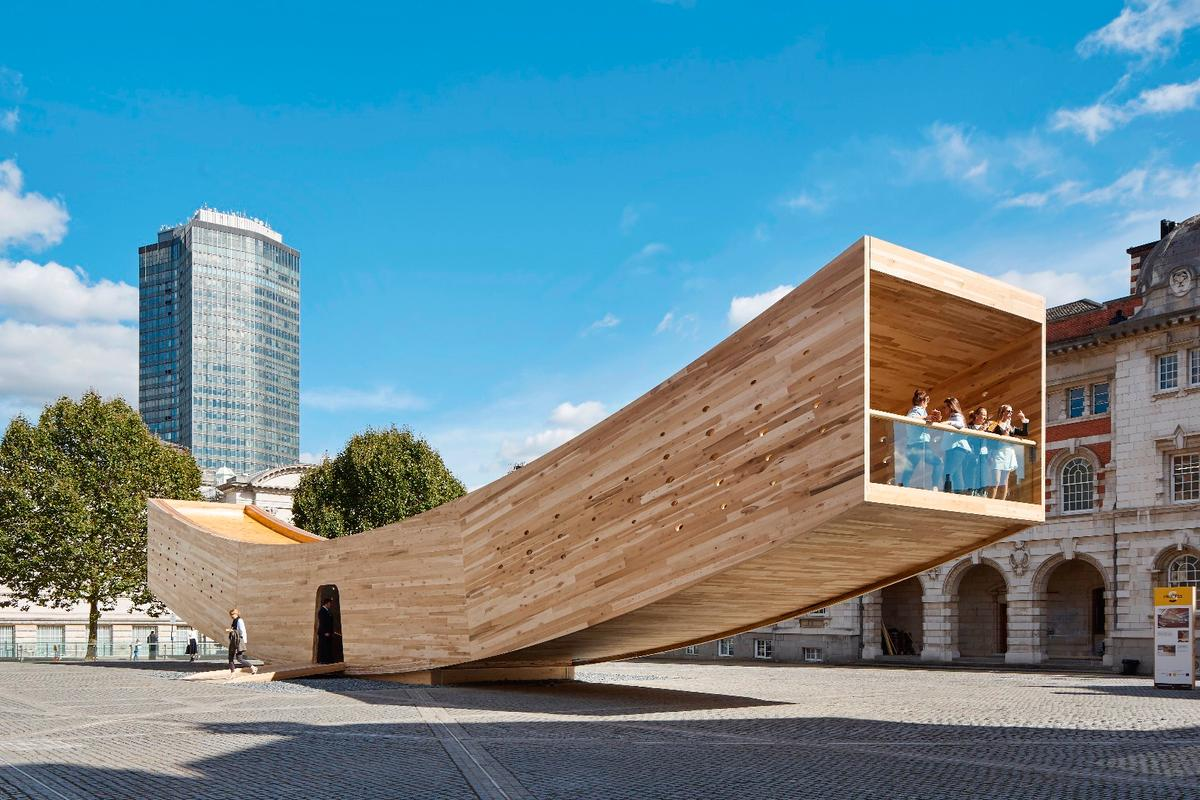 The British-based Smile, by Alison Brooks Architects, is a public pavilion constructed from CLT (cross-laminated timber)