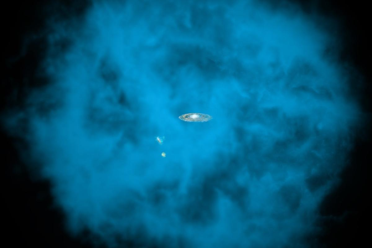 Artists impression of the Milky Way, as well as the Small and Large Magellanic Clouds embedded within a vast halo of gas