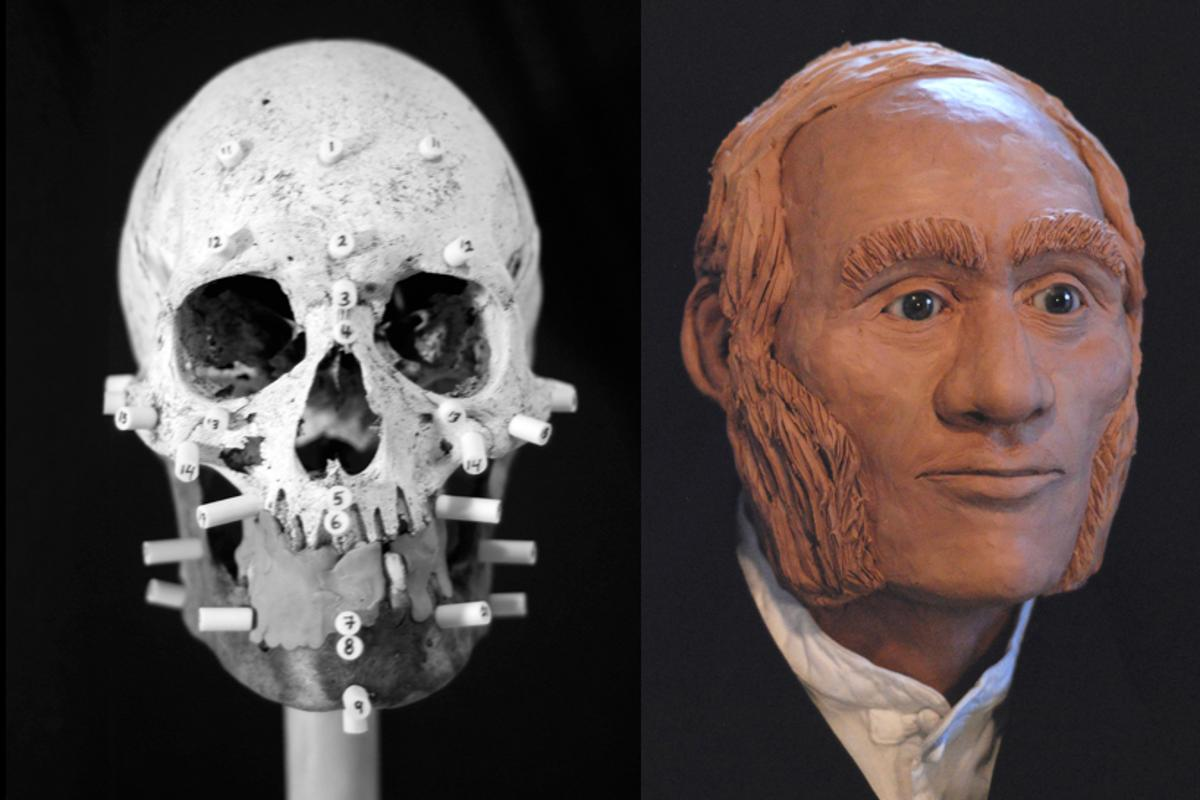 A facial reconstruction of the individual identified through DNA analysis as John Gregory