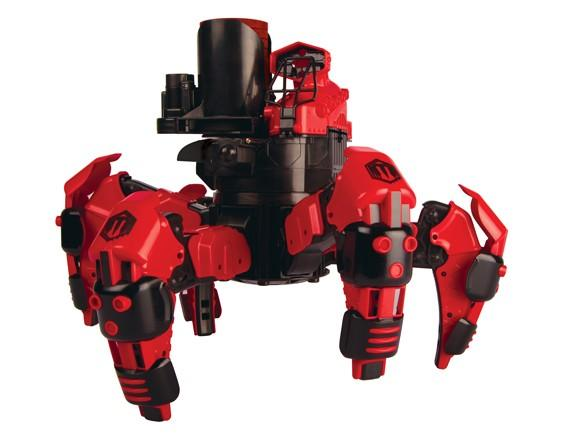 The 10-inch tall Attacknid maneuvers easily in any direction and has a 360-degree rotating head that can rapid fire projectiles up to 30 feet