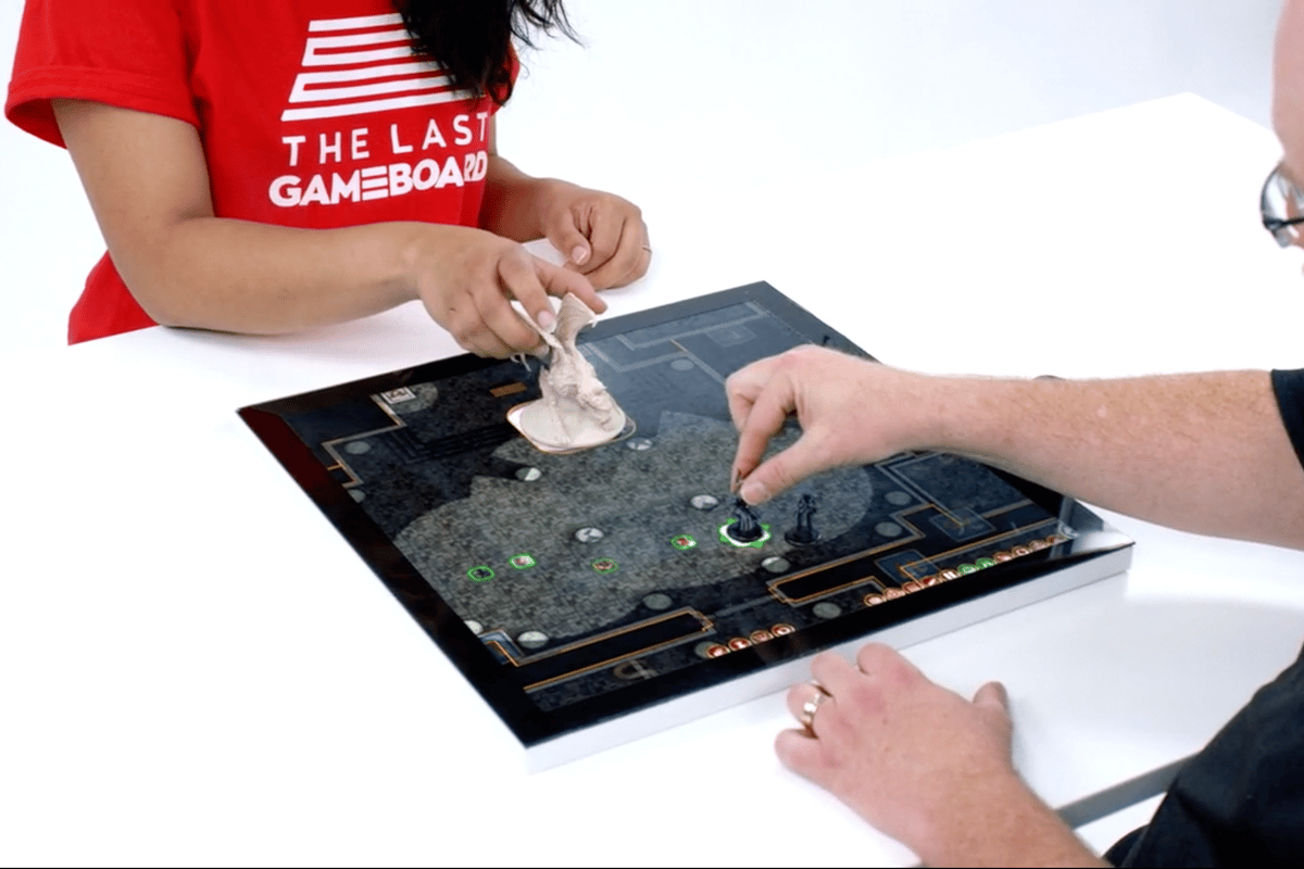 Unlike iPads and other tablets, Gameboard-1 can intelligently interact with physical playing pieces