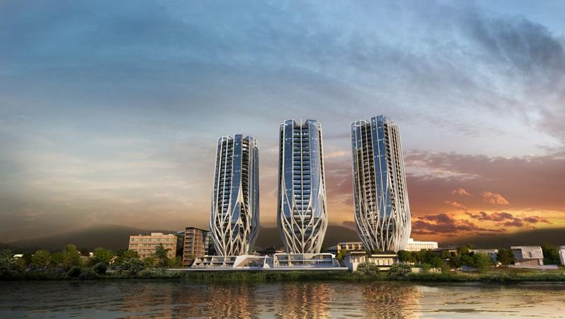 Zaha Hadid's Grace on Coronation features three towers that taper at the bottom to minimize their footprint