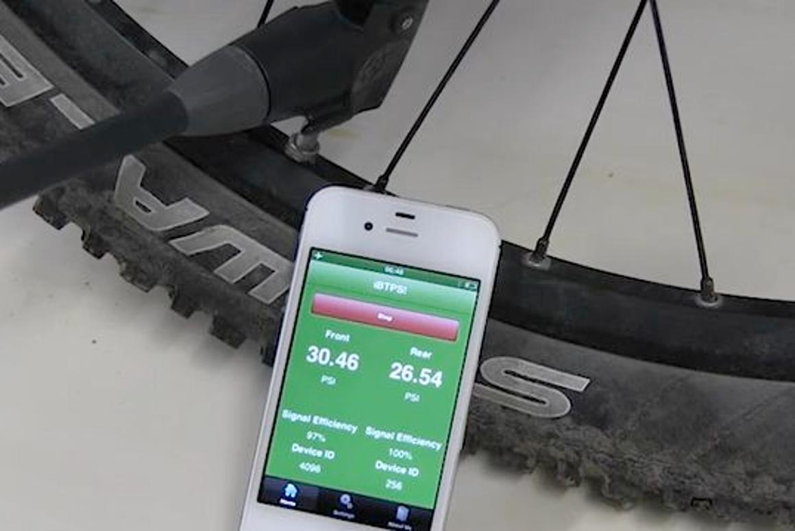 The BTPS Bike Tire Pressure System in use