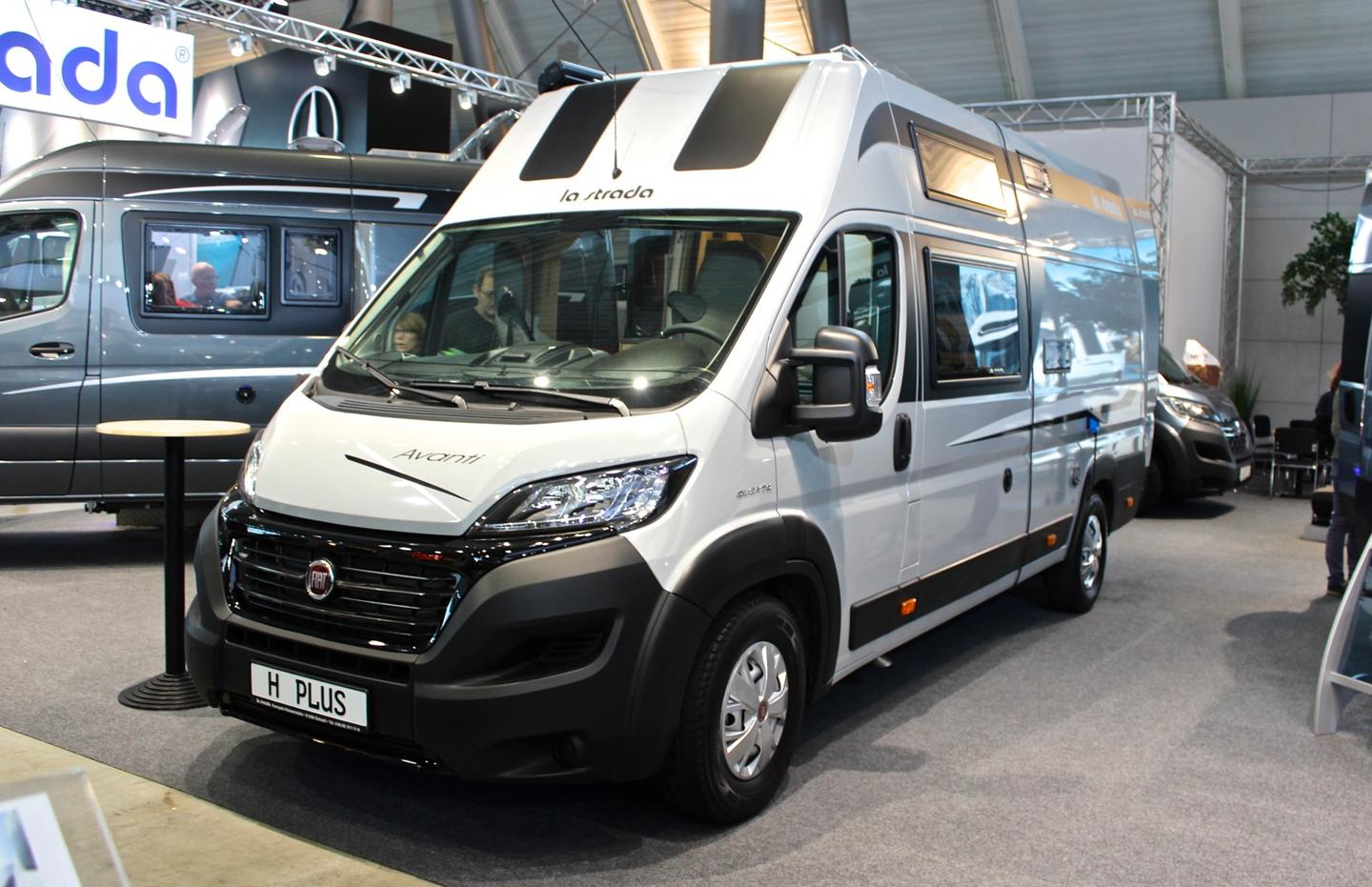 The La Strada Avanti H Plus starts at €57,213, but this show model was optioned up with all kinds of equipment, including a more powerful engine, navigation system, 100 watts of solar and awning, pricing at €81,534