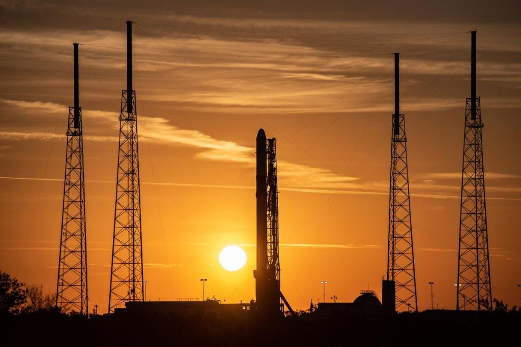 SpaceX's Falcon 9 on the launch pad at Cape Canaveral ahead of launch