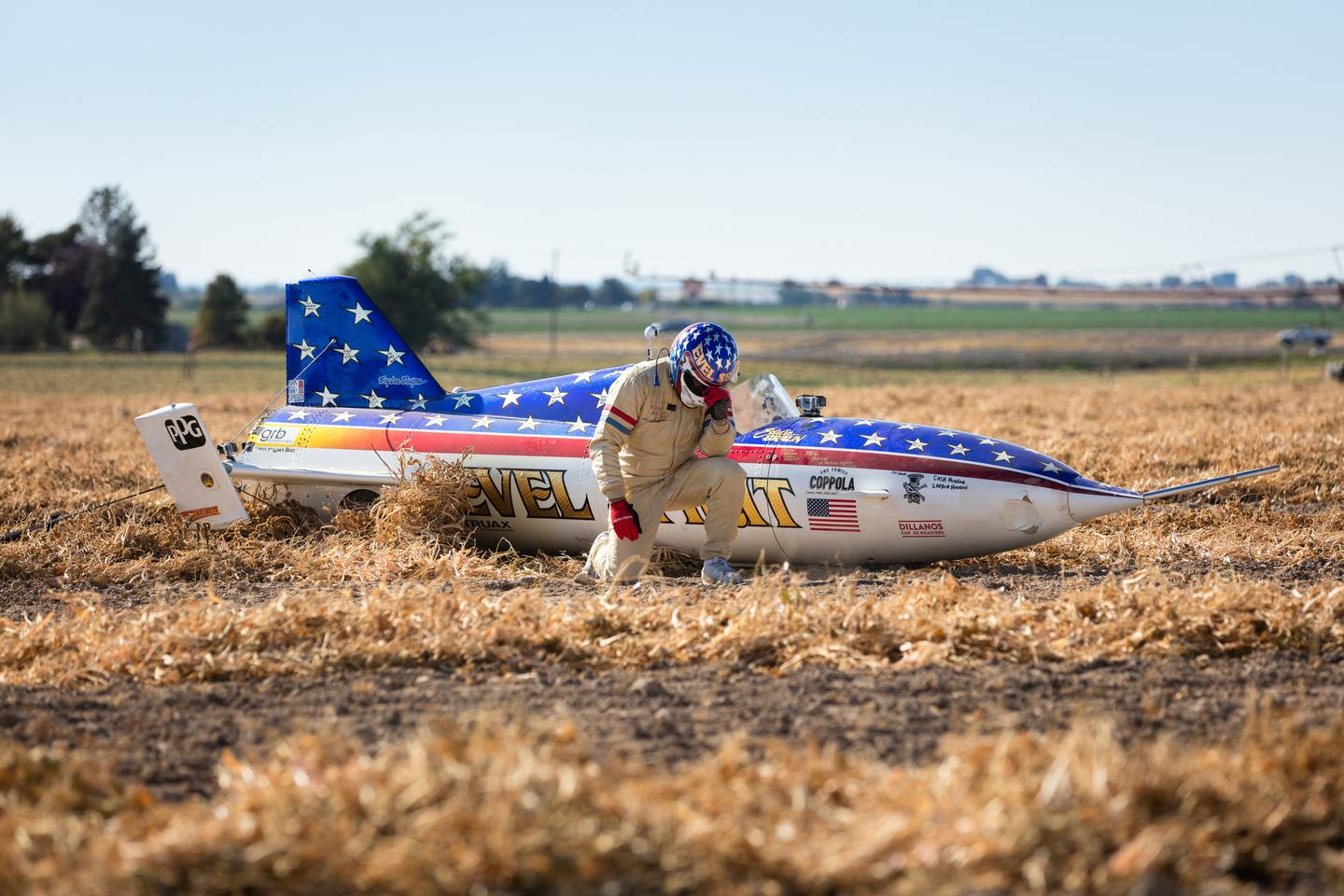The Evel Spirit landed in a bean field more than a mile downrange. It took several minutes for the crew to reach Braun