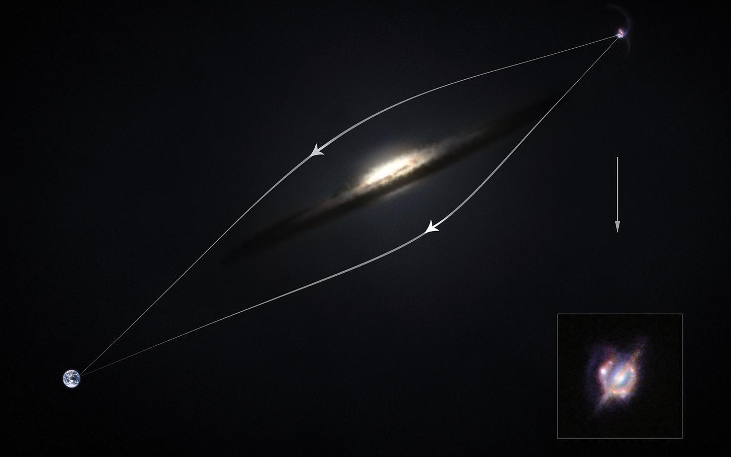 Diagram showing how gravitational lensing deflects light around an obscuring galaxy (Image: ESO/M. Kornmesser)