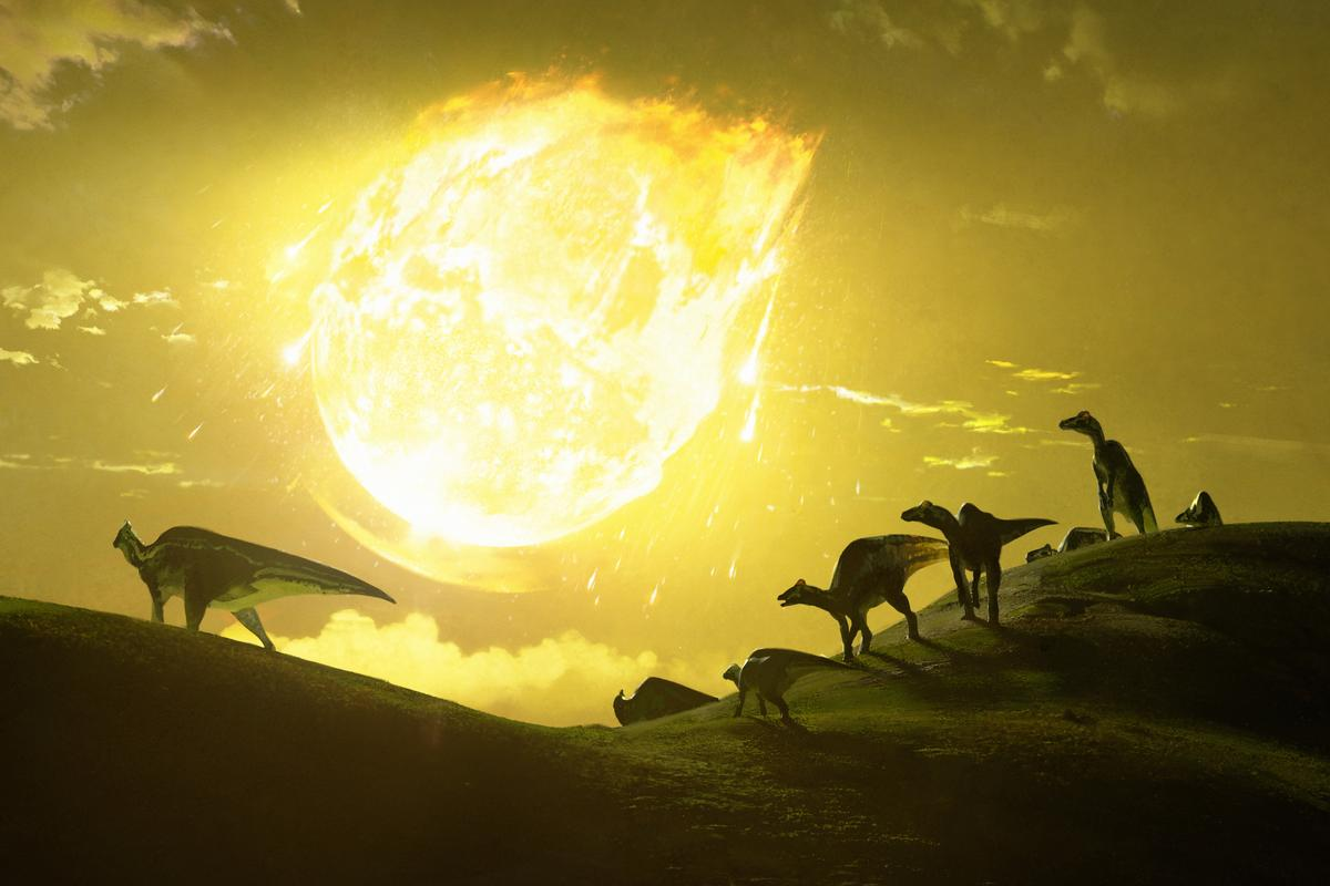 An artist's imagining of the fateful day when an asteroid slammed into Earth some 66 million years ago