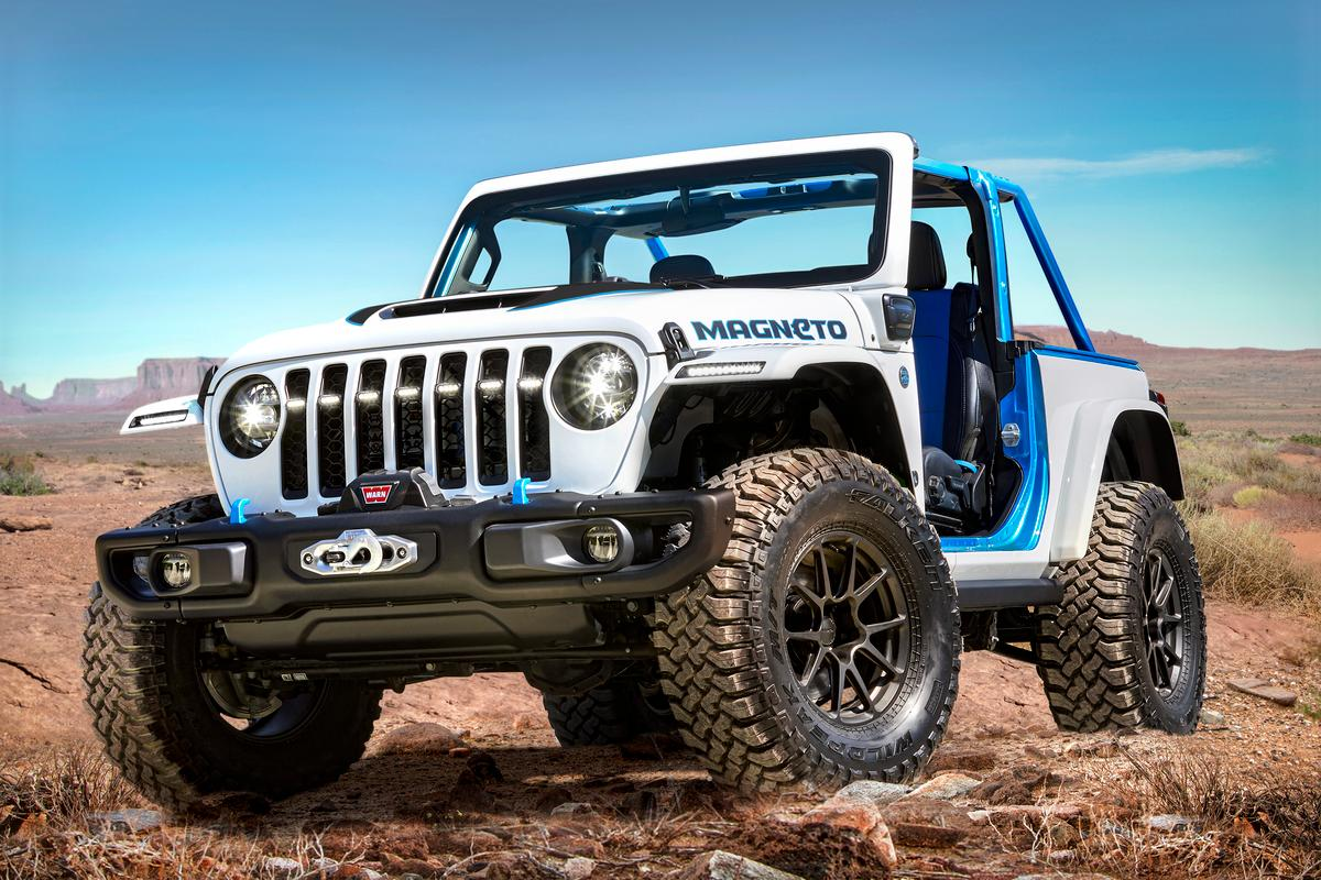 The Jeep Wrangler Magneto concept is as ready for full-on off-roading as any other Wrangler, but it'll do it without the tailpipe emissions or engine noise