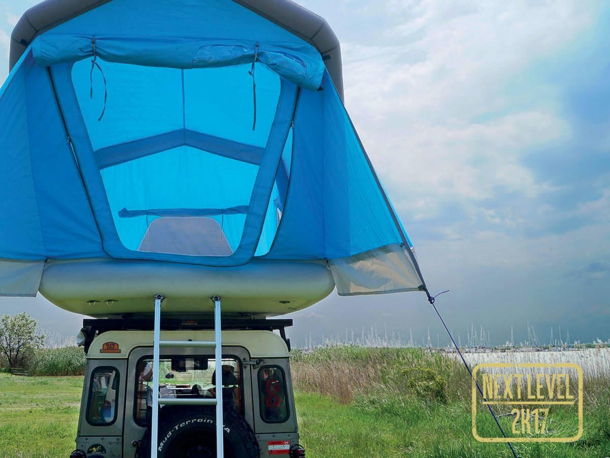 The GentleTent GT Roof ready for some off-road Land Rover camping