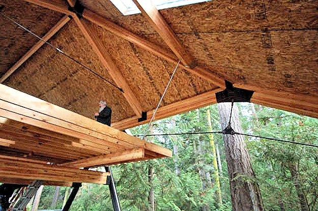An interior of the roof during construction of Sneeoosh Cabin (Photo: Zeroplus Architects)