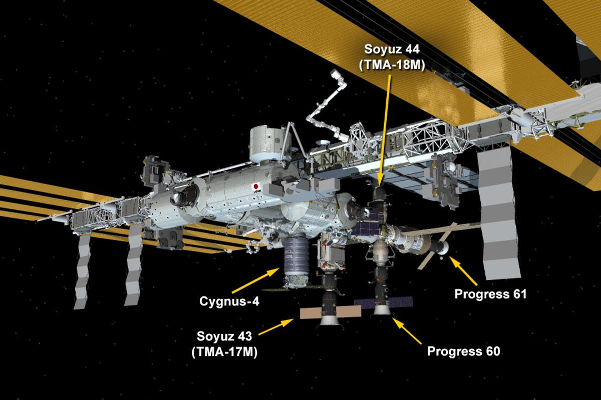 Graphic displaying the current layout of the ISS, as well as the positions of all currently docked spacecraft