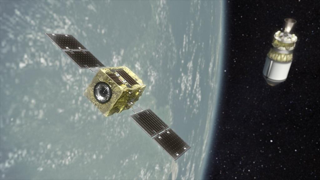 A render of Astroscale's ADRAS-J satellite approaching a spent upper stage rocket