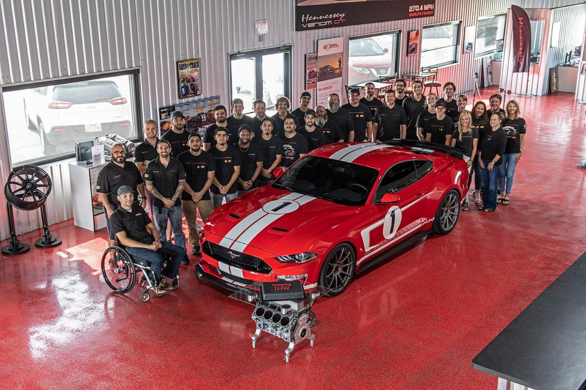 The Hennessey team celebrates its 10,000th car with a monster Heritage Mustang