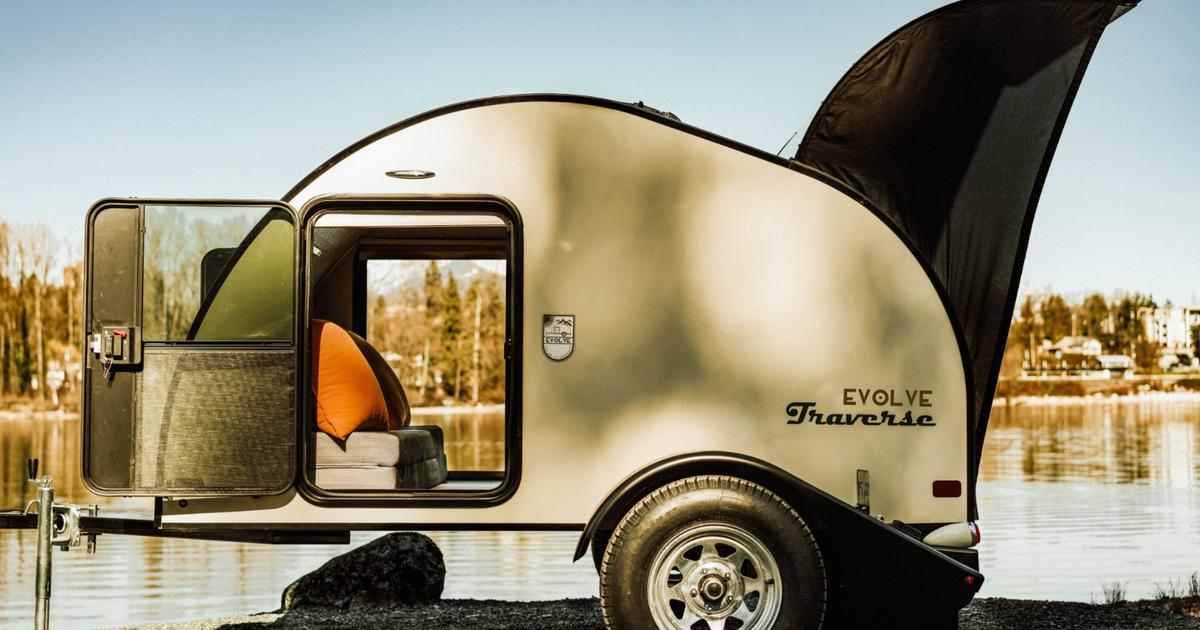 Evolve solar teardrop trailers bring rustic style and powered living to remote spaces
