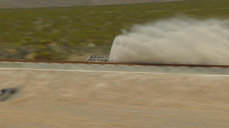 The Sandshark hitting the braking barrier