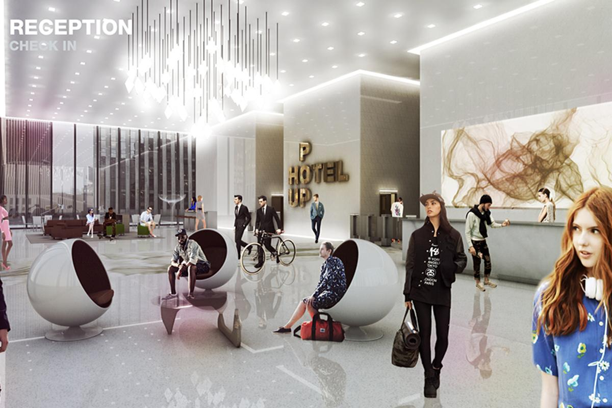 Artist's concept of a Pop-Up Hotel reception lobby