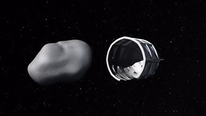 Mining robot preparing to envelop and extract water from an asteroid