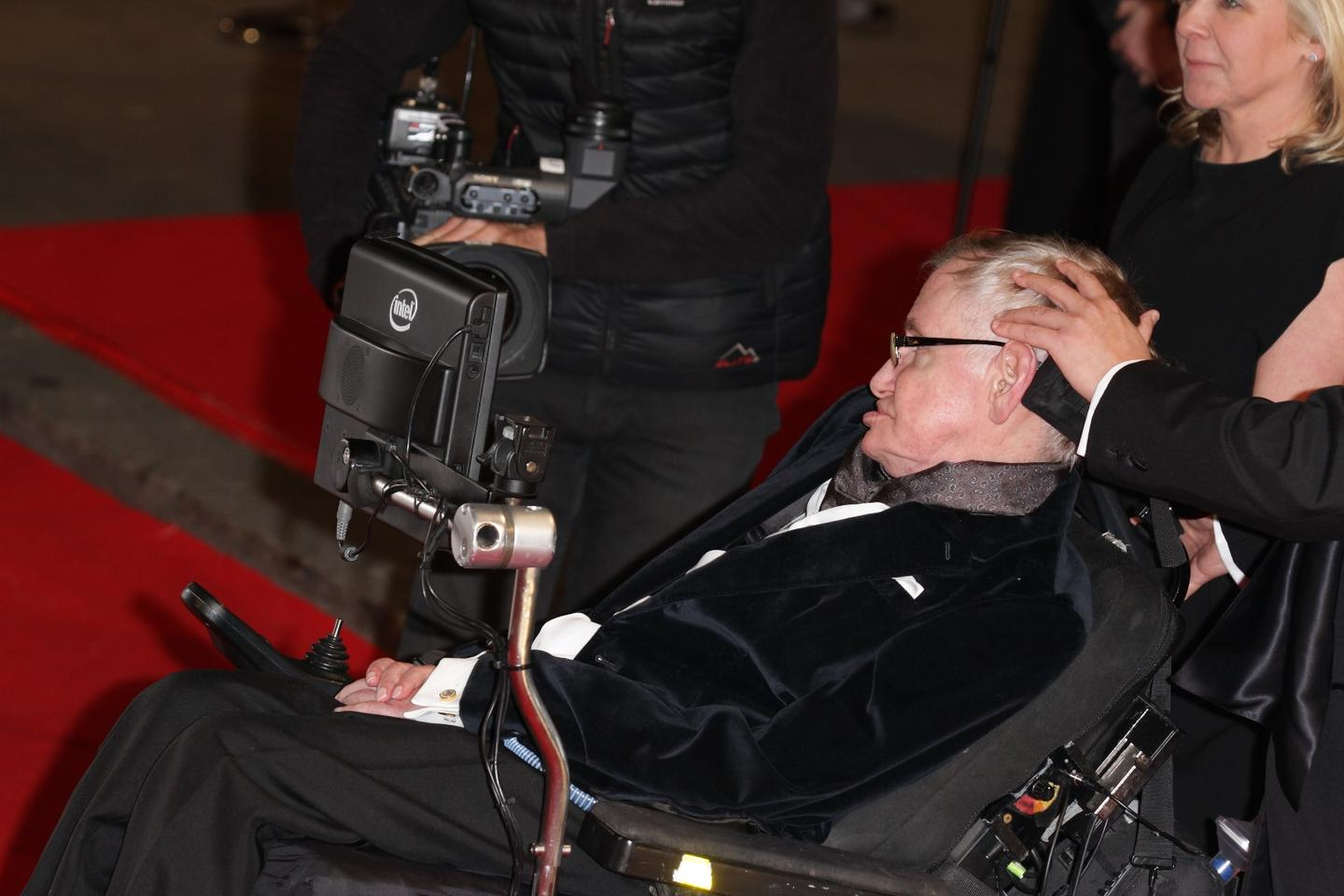 Stephen Hawking at the 2015 BAFTA awards