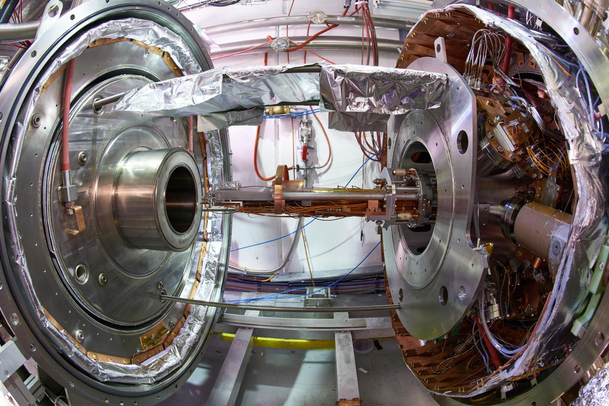 A section of the existing BASE experiment, where antimatter is produced and stored in the lab