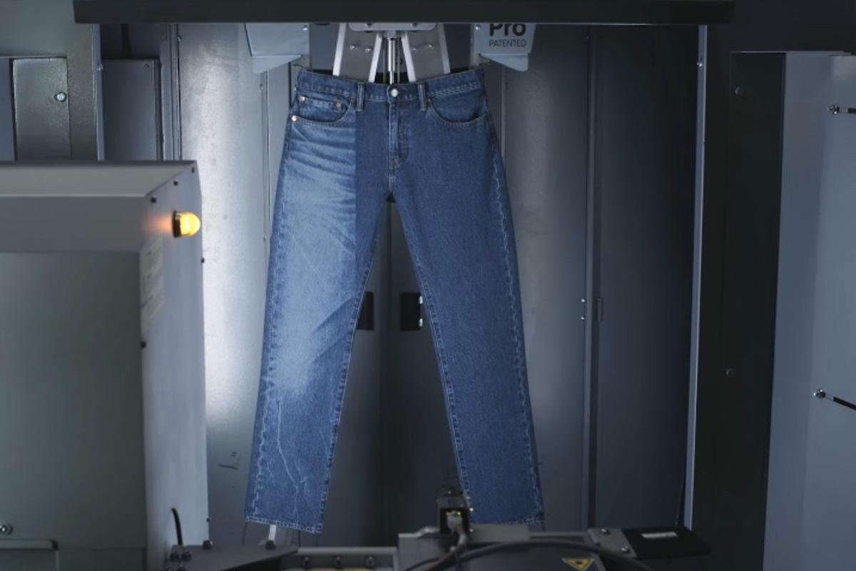 "Using Project F.L.X. technology, a pair of jeans can be given the ""lived-in"" look in 90 seconds"