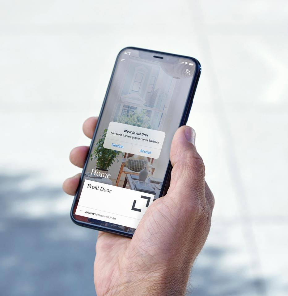 The Level Lock app can also be used to remotely grant lock access to other people for certain days and times, to track who has entered and exited the house, and to receive alerts such as low-battery warnings