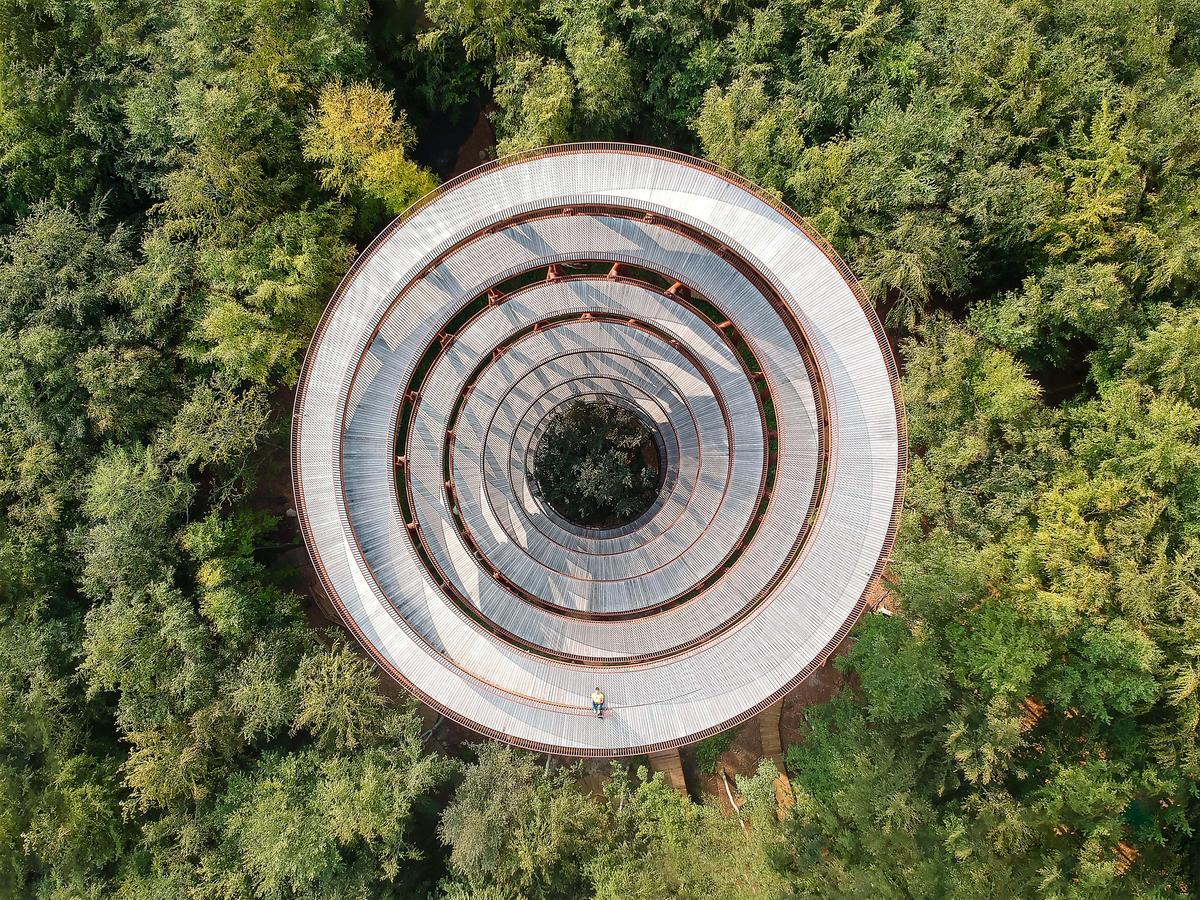 Marco de Groot from the Netherlands took this aerial photograph of the Camp Adventure Observation Tower in Gisselfeld Klosters Forest, Denmark, by EFFEK. It was entered into the Sense of Place category