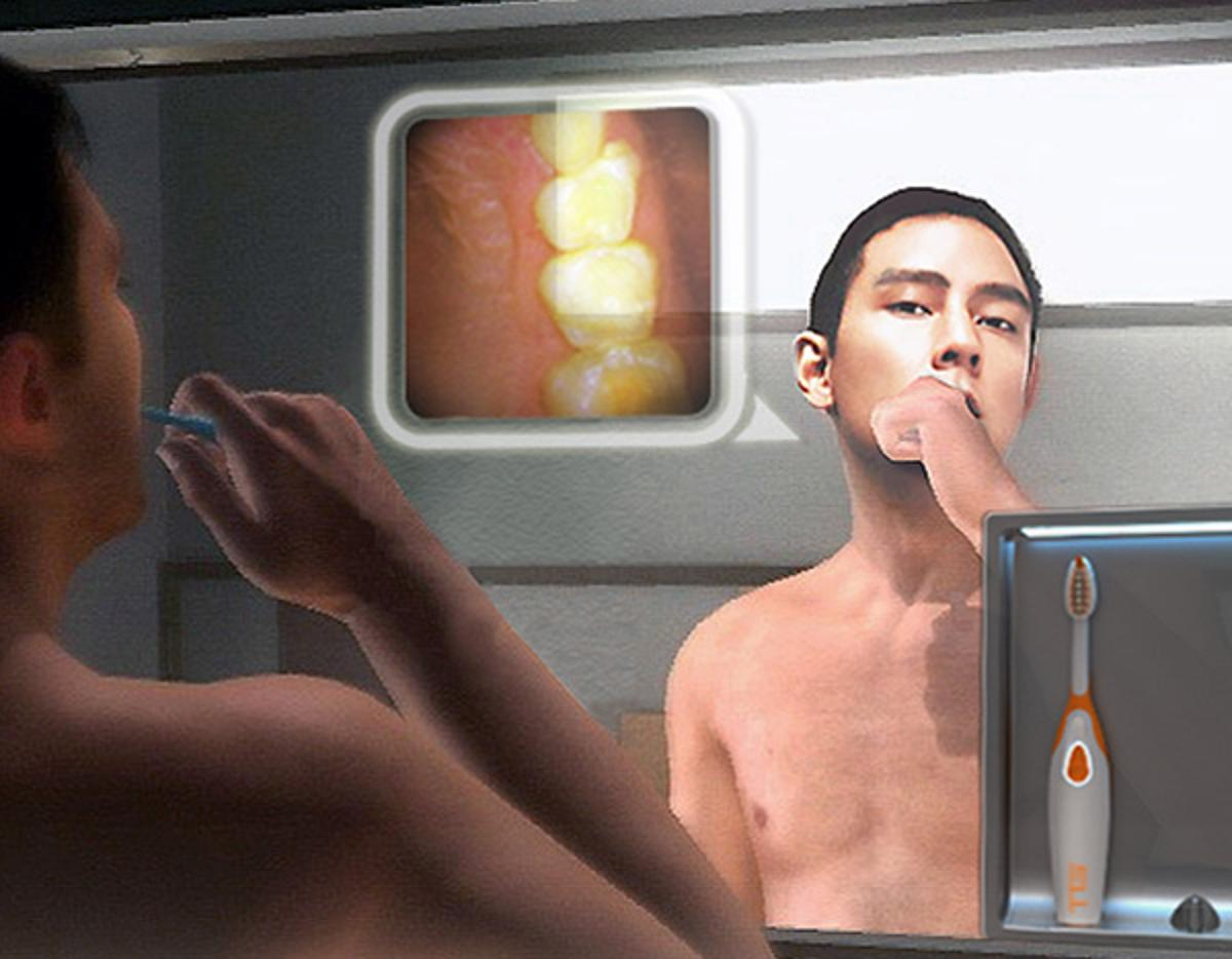 The Tooth Guardian would use a camera to display an image of your teeth on your bathroom mirror while you brush