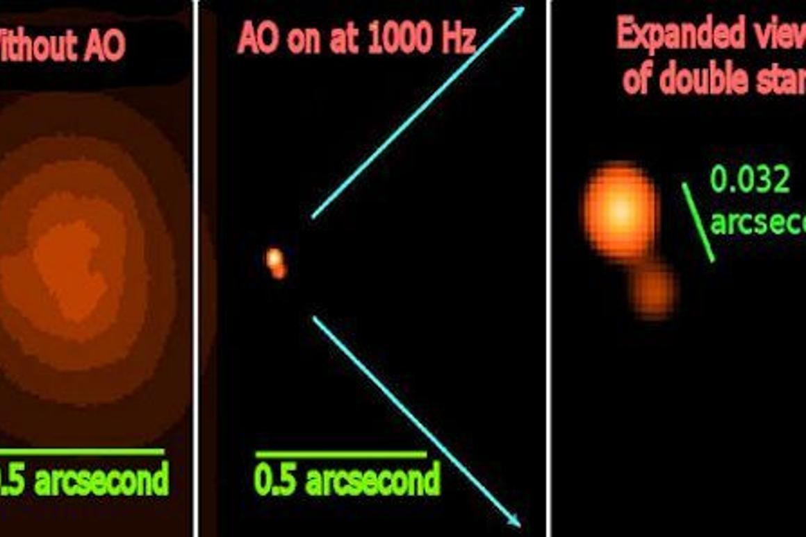 Images taken by the 6.5 meter Clay telescope with and without the new adaptive optics system showing Theta 1 Ori C as a double star for the first time (Photo: Laird Close, University of Arizona)