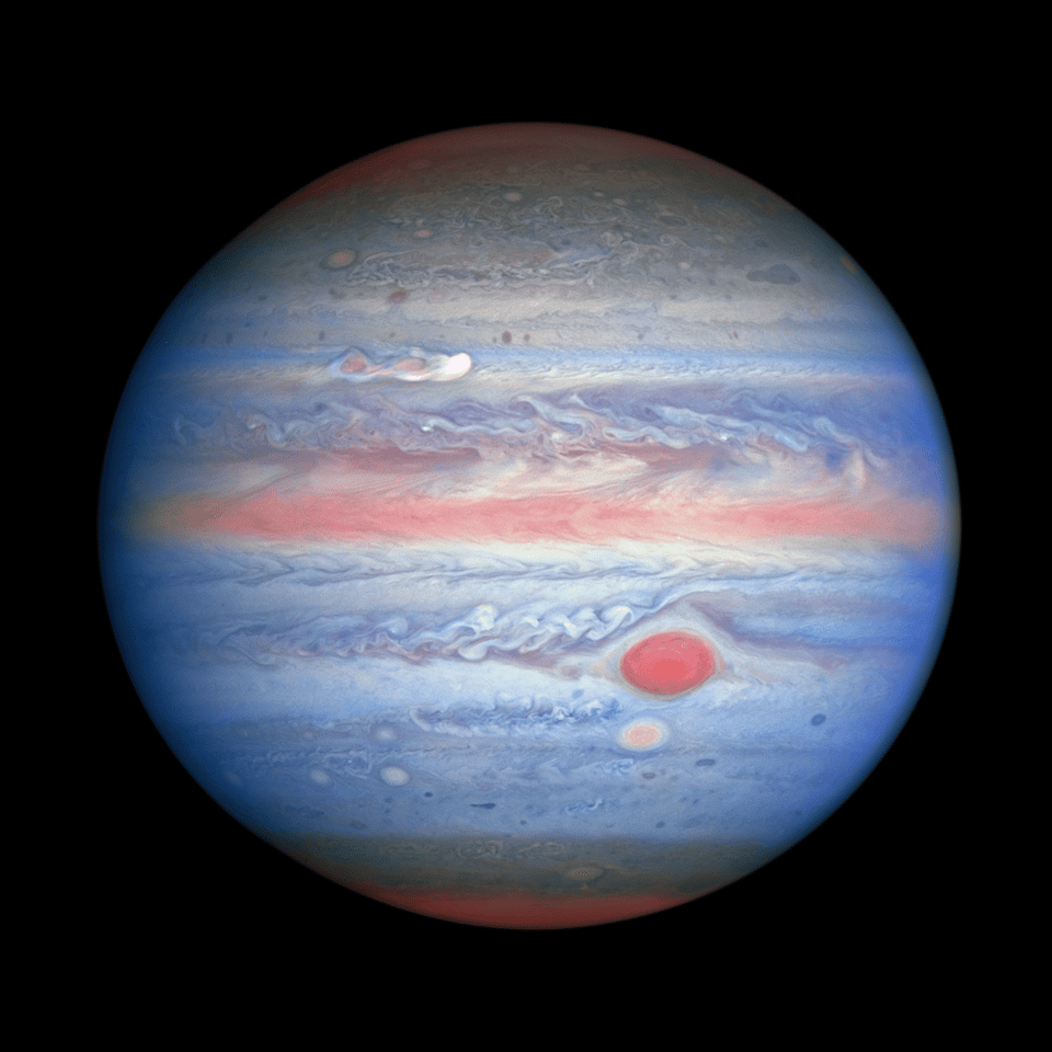 Snapped by Hubble on August 25, 2020, this composite image shows Jupiter in visible, ultraviolet and near-infrared light. Blue sections represent UV light being reflected, while the red areas are clouds absorbing UV